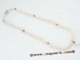 pn336 Wholesale 6-7mm potato pearl and crystal costume necklace
