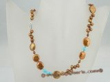 pn341 Fashion coffee coin pearl and turquoise costume necklace