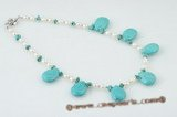 pn351 Freshwater Rice Pearl & Teardrop Turquoise Necklace