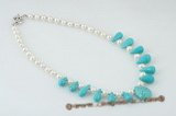 pn352 Modern Freshwater potato Pearl & Drop turquoise Necklace
