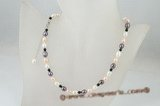 pn353 Subtle Glow freshwater rice pearl and agate princess necklace