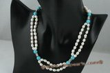pn357 Cultured rice pearl and turquoise princess necklace in waves cast