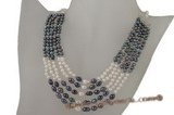 Pn374 Design low quality  black and white seed pearl layer necklace