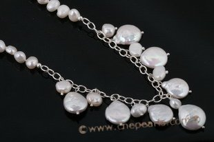 pn379 Sterling silver nugget and coin pearl princess Necklace in wholesale