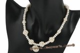 pn385 Fashion button pearl necklace with gradual pearl ball