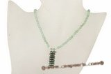 Pn393 Fashion green jade and coin pearl drop pendant necklace