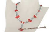 Pn398 Stylish red coral and black biwa pearl Y style princess necklace