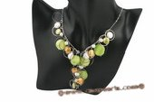 pn402 Hand wired coin pearl and shell chain necklace