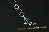pn404 Multicolor drop pearl sterling silver pendant necklace