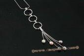 pn404 Multicolor drop pearl sterling silver pendant necklace
