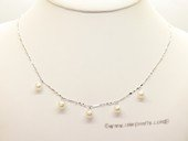 pn405 6-7mm teardrop pearl sterling sivler chain necklace