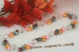 Pn413 Handmade Color Freshwater Pearl & Faceted Cystal Necklace