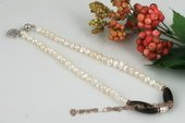 Pn414 Hand Knotted Nugget Pearl and Smoking Quartz Necklace