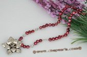 Pn431 Wine Red Nugget Pearl and 925 Silver Flower Pendant Necklace