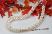 Pn458 Hand Knitted White Potato Pearl and Austria Crystal Sparkly Necklace