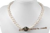 Pn480 Designer 8-9mm White Freshwater Potato Pearl Costume Necklace