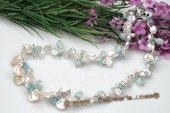 Pn488 Freshwater Keishi Pearl and Blue Crystal Princess Necklace