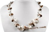 Pn489 White Freshwater Keishi Pearl and Tiger Eye&#39s Princess Necklace