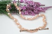 Pn490 Hand Knitted white& Pink Potato Pearl Costume Necklace