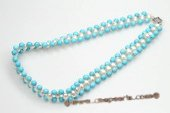 pn496 Hand knitted Frehswater Rice Pearl and Turquoise Choker Necklace
