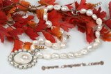 pn505 11-13mm white blister pearl necklace with shell pendant