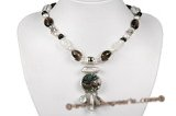 pn507 Hand Knotted Freshwater potato Pearl and smoking quartz Necklace