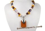 pn510 amethyst beads,man made amber ,freshwater pearl necklace