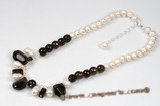 "pn511 Cultured Freshwater potato Pearl and smoking quartz 16"" Necklace"