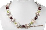 pn512 cultured freshwater pearl necklace with crystal beads