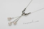 pn514 6-7mm white rice pearl drop necklace in sterling silver