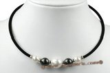 pn515 Black rubber cord big sea shell pearl beads necklace