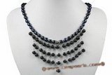 pn521 fashion 6-7mm black freshwater pearl necklace