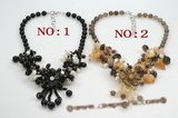 pn532 beautiful flower jewelry necklace mixed with pearl and colorful gemstone beads