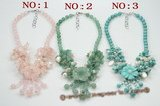 pn534 beautiful flower jewelry necklace mixed with pearl and colorful gemstone beads
