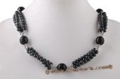 Pn535 Popular Black Potato Pearl and Black Agate Princess Necklace