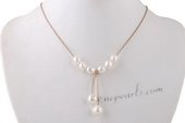 Pn538 Classic White Rice Pearl and Cord Princess Pendant Necklace