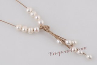 Pn547 Perfect White Rice Pearl and Cord Princess Necklace