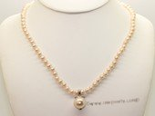 Pn551 Elegant Hand Knotted Cultured Pearl Necklace with 925Silver Pendant