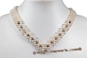 Pn557 Hand Knit Austria Crystal and White Pearl Princess Necklace