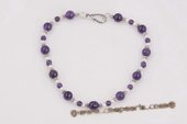 pn561 Cultured Freshwater Pearl and Amethyst Coustme Necklace