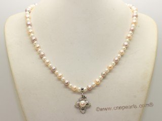 Pn563 Elegant Sterling Silver Cultured Pearl Summer Romance Necklace