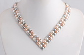 PN564 pn255 Hand knitted Double Rows V-necked Bread Pearl Choker Necklace