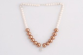 Pn565 Hand Knotted Light Coffee Oval Shell Pearl Prom Necklace
