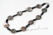 Pn568  Unusual Hand Knotted Black Biwa Pearl& Shell Summer Necklace