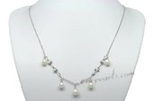 Pn585 Shining Hand Warpped 6-7mm Rice Shape Pearl Sterling Silver Necklace