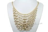 Pn591 White Layered Freshwater Cultured Pearl Cascading Necklace