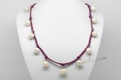Pn597 Freshwater Whorl Pearl & Pearlised Purple Leather Necklace