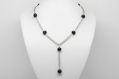 Pn598 Silver toned Black Freshwater Potato Pearl Y Necklace