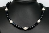 Pn603 Black Pearl Princess Necklace with White Parls and Crystal Spacer