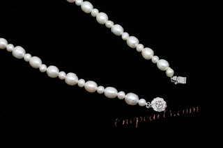 pn605 Hand Knotted White Rice Pearl and Seed Pearl Princess Necklace